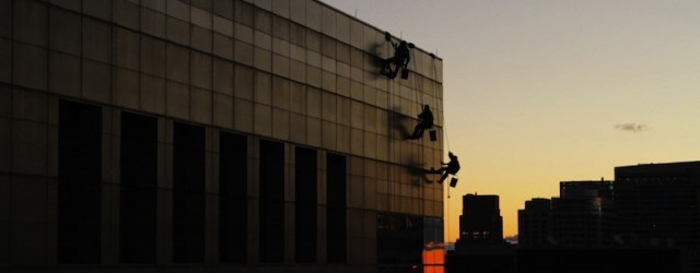 """Paraíso Dir. Nadav Kurtz, US, 10min. 2012, color, documentary. (This short film will be shown with """"Evaporating Borders"""") Three immigrant window cleaners risk their lives every day rappelling down some..."""